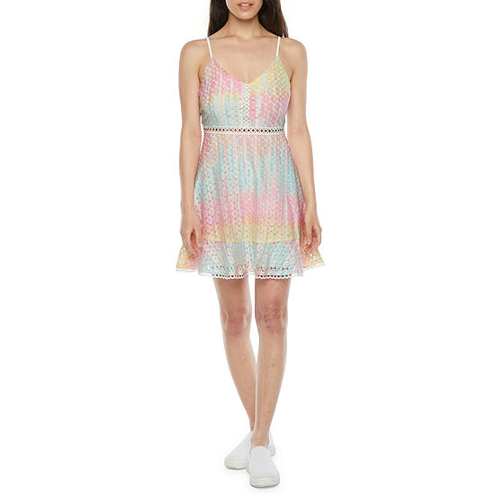 Speechless-Juniors Sleeveless Tie Dye Fit & Flare Dress