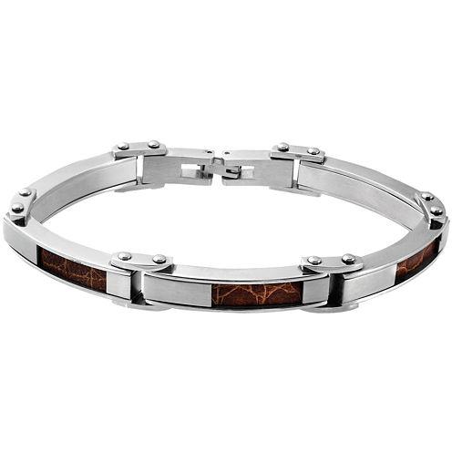 Stainless Steel & Brown Faux-Crocodile Leather Mens Bracelet