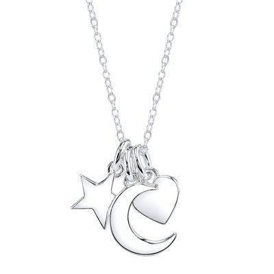 Footnotes® Sterling Silver Moon, Star & Heart Charm Necklace