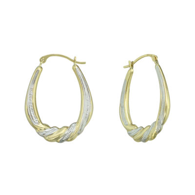 14K Two-Tone Gold Small Oval Swirl Hoop Earrings