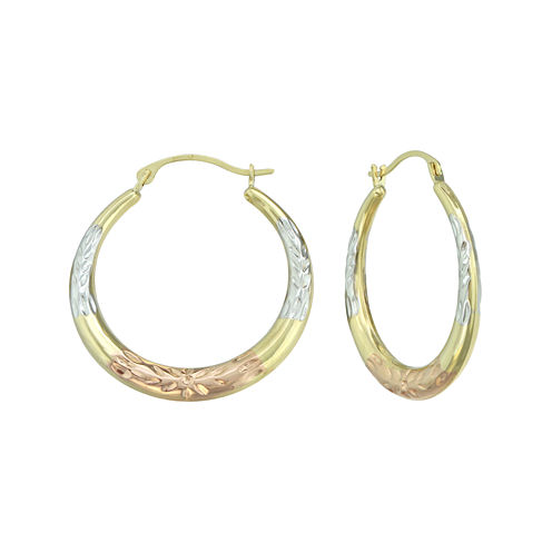 14K Tri-Tone Gold Diamond-Cut Round Hoop Earrings