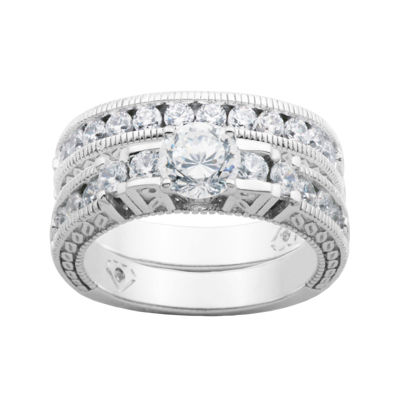 100 Facets by DiamonArt® Cubic Zirconia Bridal Ring Set