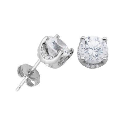 DiamonArt® Cubic Zirconia Sterling Silver 6.5mm Stud Earrings