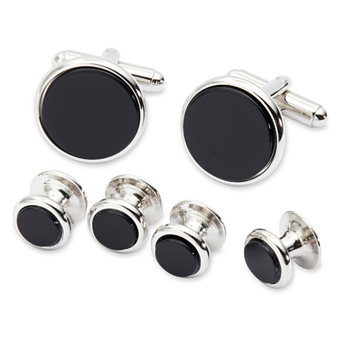 Genuine Black Onyx Formal Set Cuff Links & 4 Shirt Studs