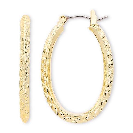 Liz Claiborne® Gold-Tone, Textured Oval Hoop Earrings