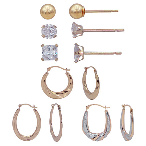 6 Pair White Cubic Zirconia 10K Gold Earring Sets