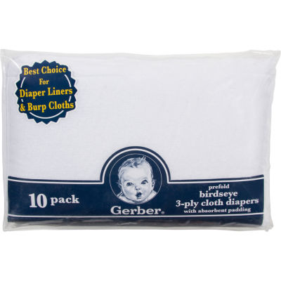 Gerber® 10 Pack Prefold Birdseye 3-Ply Cloth Diapers with Absorbant Padding