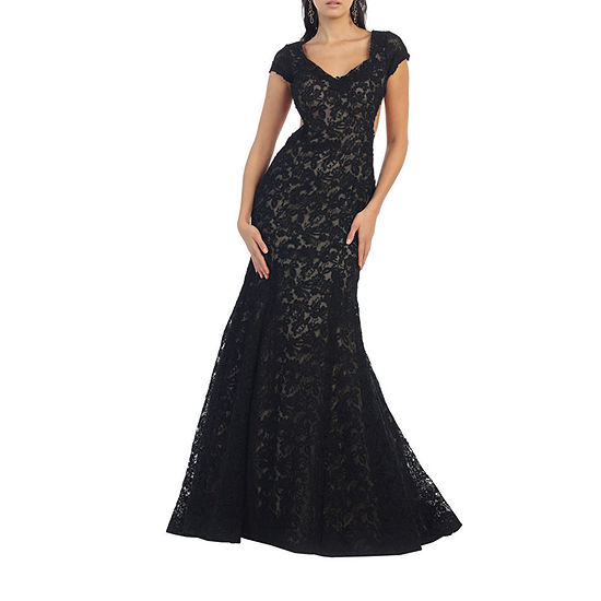 Sexy Exposed Back Cap Sleeve Evening Gown