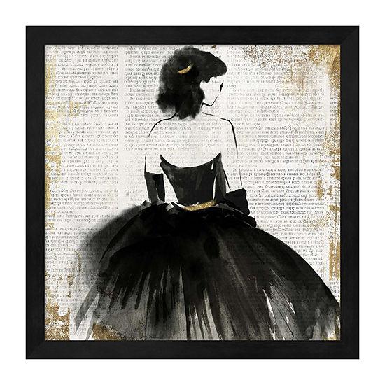 Metaverse Art Lady in Black Dress Framed Wall Art