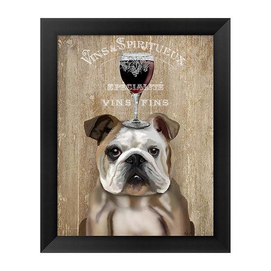 Metaverse Art Dog Au Vin English Bulldog Framed Wall Art