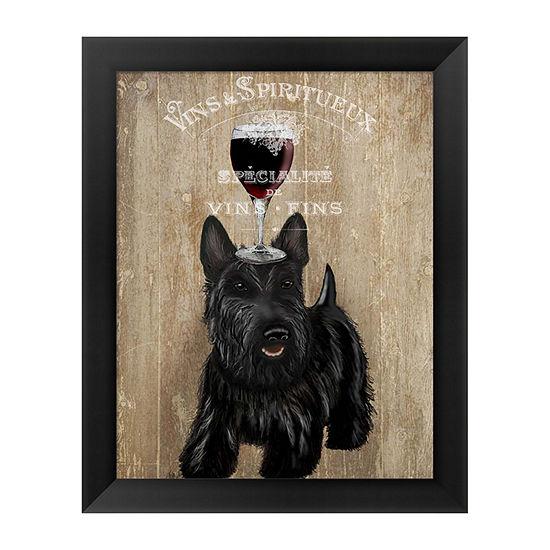 Metaverse Art Dog Au Vin Scottish Terrier Framed Wall Art