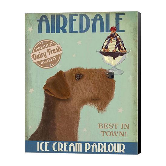 Metaverse Art Airedale Ice Cream Canvas Wall Art