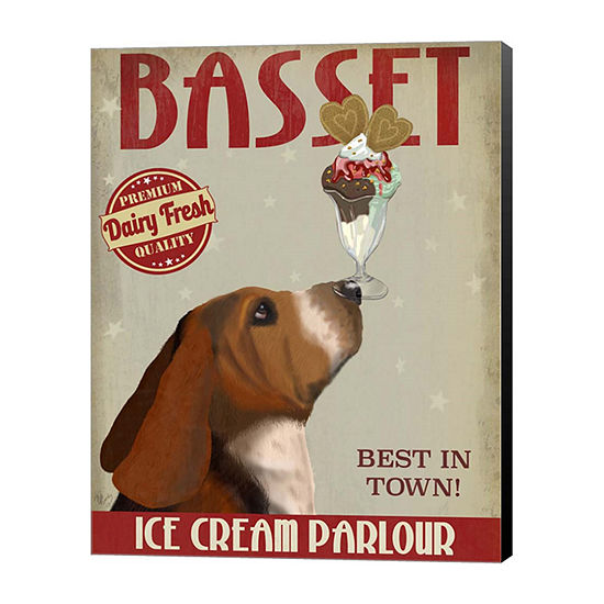 Metaverse Art Basset Hound Ice Cream Canvas Wall Art
