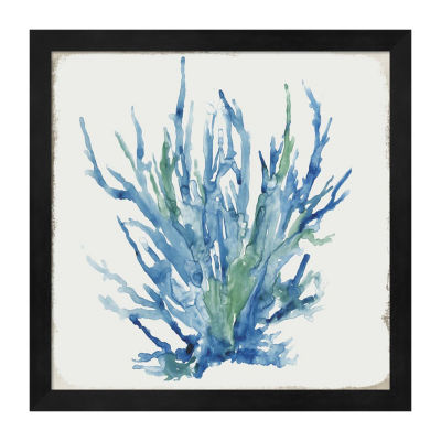 Metaverse Art Blue and Green Coral II Framed Wall Art