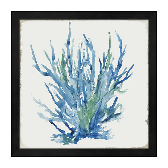 Metaverse Art Blue and Green Coral II Framed Wall Art