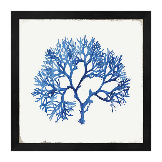 Metaverse Art Blue and Green Coral V Framed Wall Art