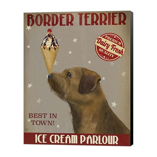 Metaverse Art Border Terrier Ice Cream Canvas WallArt