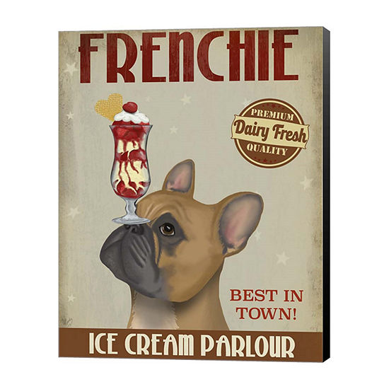 Metaverse Art French Bulldog Ice Cream Canvas Wall Art