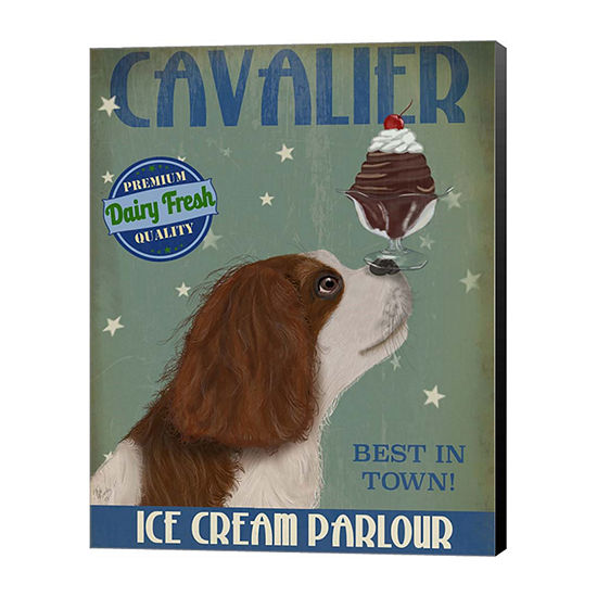 Metaverse Art Cavalier King Charles Brown White Ice Cream Canvas Wall Art