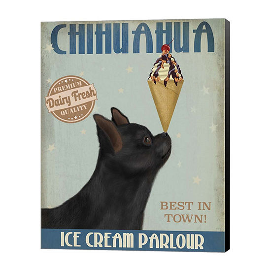 Metaverse Art Chihuahua Black Ice Cream Canvas Wall Art