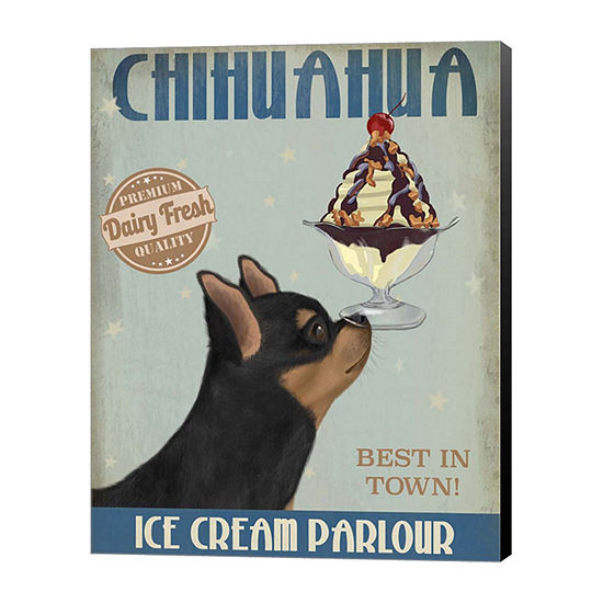 Metaverse Art Chihuahua Black and Ginger Ice Cream Canvas Wall Art