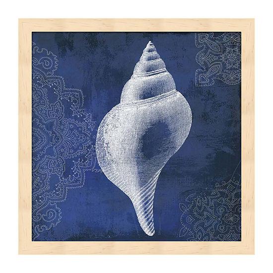 Metaverse Art Navy Shell I Framed Wall Art