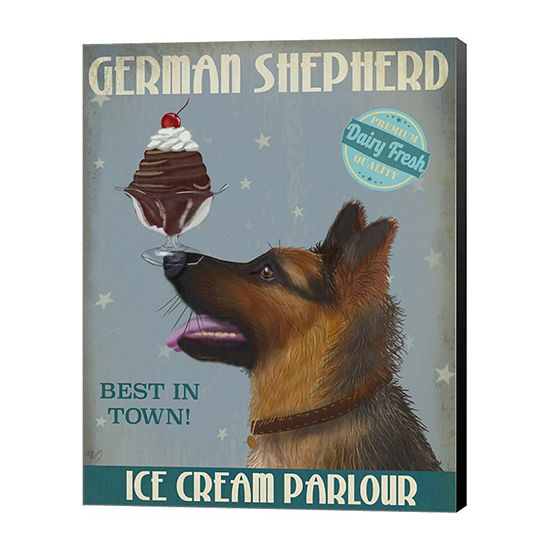 Metaverse Art German Shepherd Ice Cream Canvas Wall Art