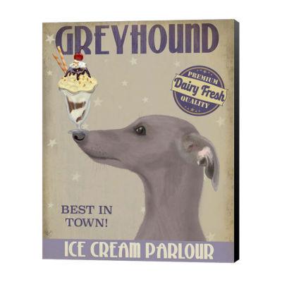 Metaverse Art Greyhound Grey Ice Cream Canvas Wall Art