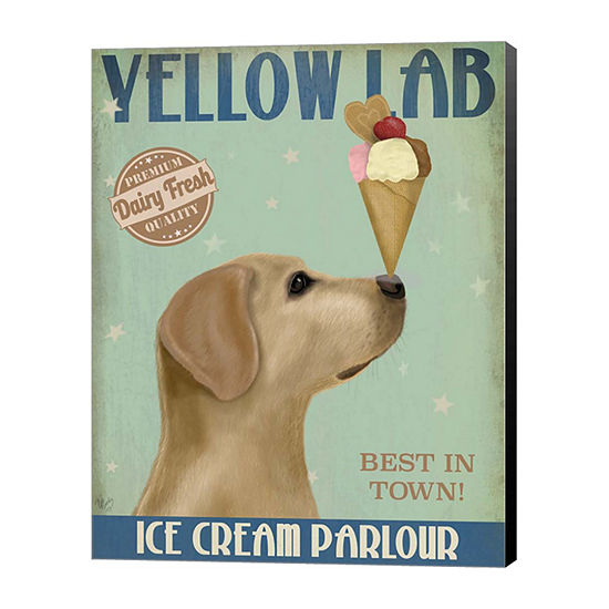 Metaverse Art Yellow Labrador Ice Cream Canvas Wall Art