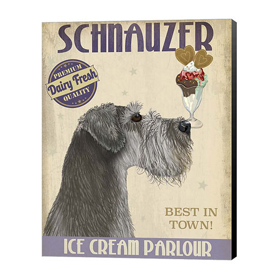 Metaverse Art Schnauzer Grey Ice Cream Canvas WallArt