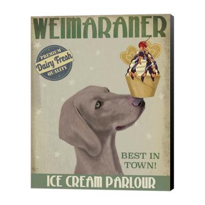 Metaverse Art Weimaraner Ice Cream Canvas Wall Art