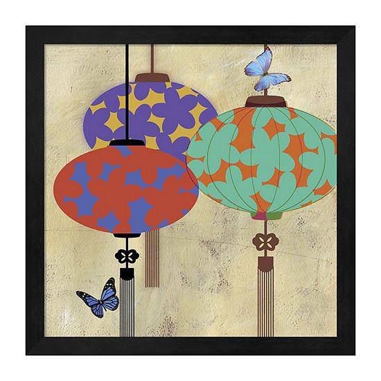 Metaverse Art Butterfly Lanterns Framed Wall Art