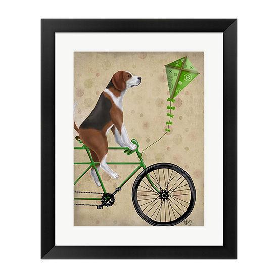 Metaverse Art Beagle on Bicycle Framed Wall Art
