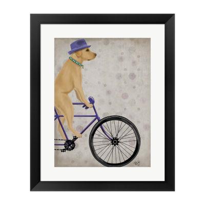 Metaverse Art Yellow Labrador on Bicycle Framed Wall Art