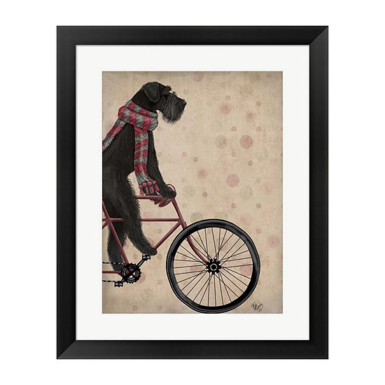Metaverse Art Schnauzer On Bicycle Black Framed Wall Art