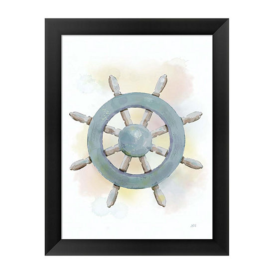 Metaverse Art Watercolor Ship's Wheel Framed Wall Art