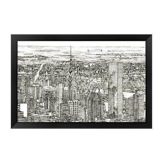 Metaverse Art Skyline Sketch I Framed Wall Art