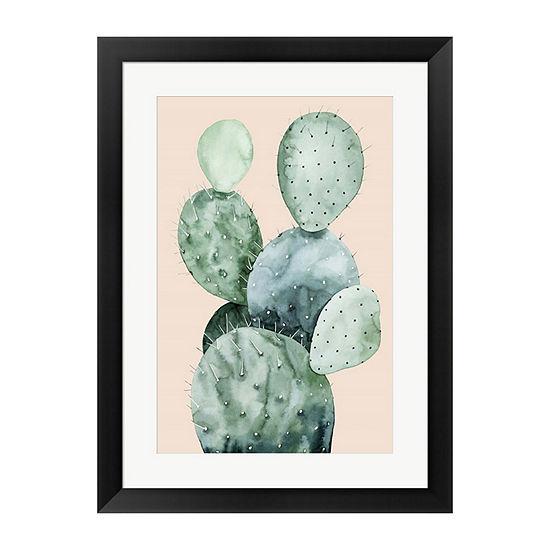 Metaverse Art Cactus on Coral II Framed Wall Art
