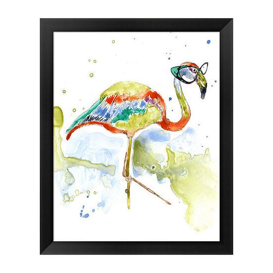 Metaverse Art Smarty-Pants Flamingo Framed Wall Art