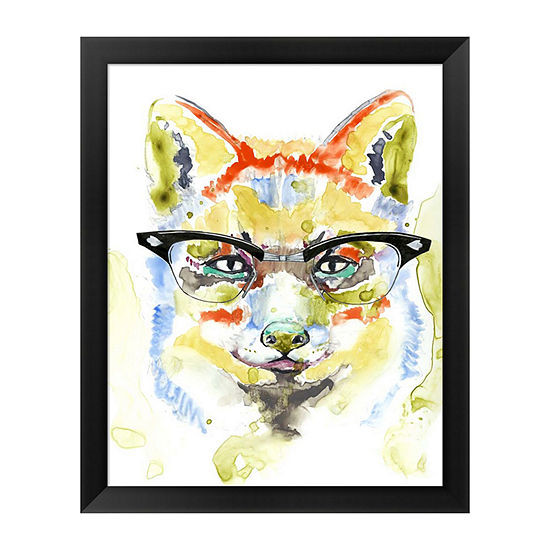 Metaverse Art Smarty Pants Fox Framed Wall Art