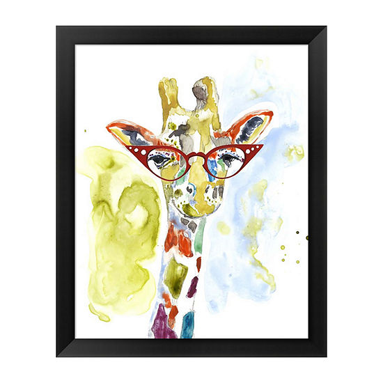 Metaverse Art Smarty-Pants Giraffe Framed Wall Art