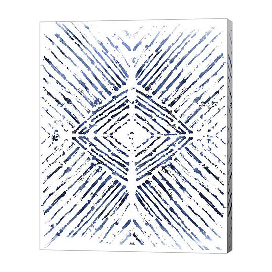 Metaverse Art Indigo Ink Motif VI Canvas Wall Art