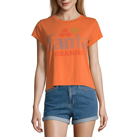 Mighty Fine Womens Crew Neck Short Sleeve Graphic T-Shirt-Juniors