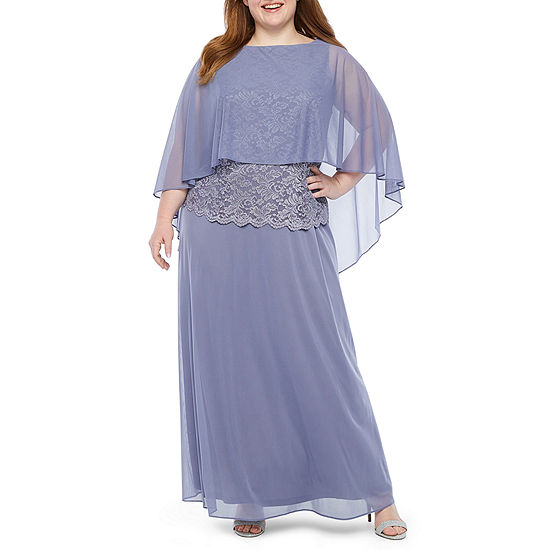 Onyx 3/4 Sleeve Cape Evening Gown-Plus