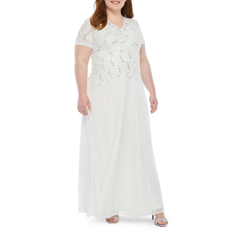 Vintage Inspired Wedding Dresses | Vintage Style Wedding Dresses Onyx Short Sleeve Lace Top Evening Gown-Plus Womens Size 16W White $86.24 AT vintagedancer.com