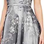 J Taylor Sleeveless Embroidered Floral Midi Fit & Flare Dress
