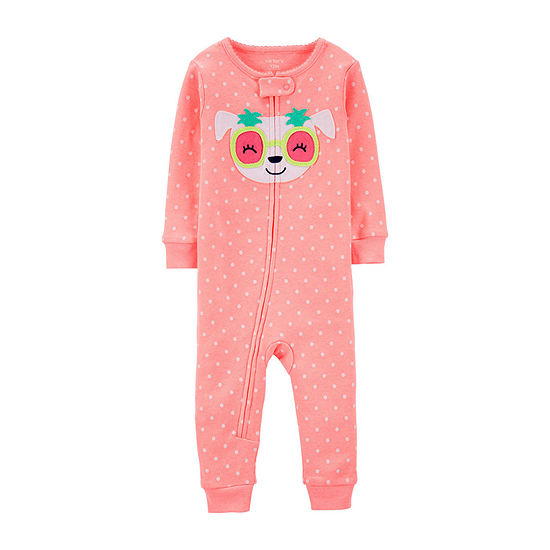 Carters Girls Knit One Piece Pajama Long Sleeve Round Neck