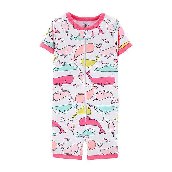 Carter's Girls Knit One Piece Pajama Short Sleeve