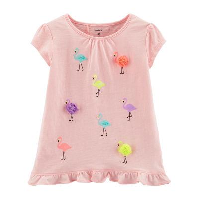Carter's Girls Round Neck Short Sleeve T-Shirt-Baby