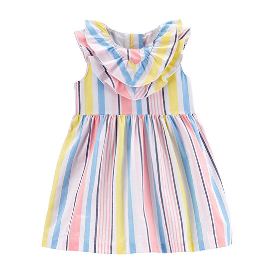 Carter's Girls Sleeveless Flutter Sleeve Striped A-Line Dress - Baby